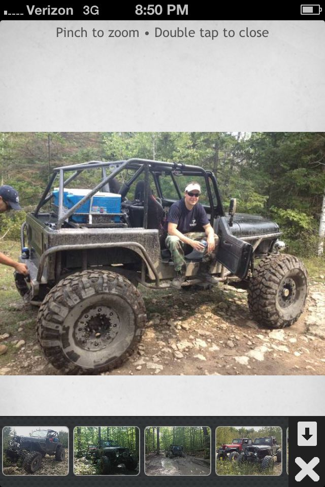 """1986 CJ7 ~104"""" wheelbase ~86"""" outside Tire : outside Tire ~85"""" tall  Paint was professionally done (pictures are from offroading, paint looks amazing clean) 42"""" Pit Bull Rockers (99% tread left!) H1 Recentered BeadLock Wheels with PVC Inserts"""
