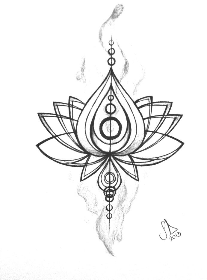 Simple Lotus Flower Tattoo Drawing