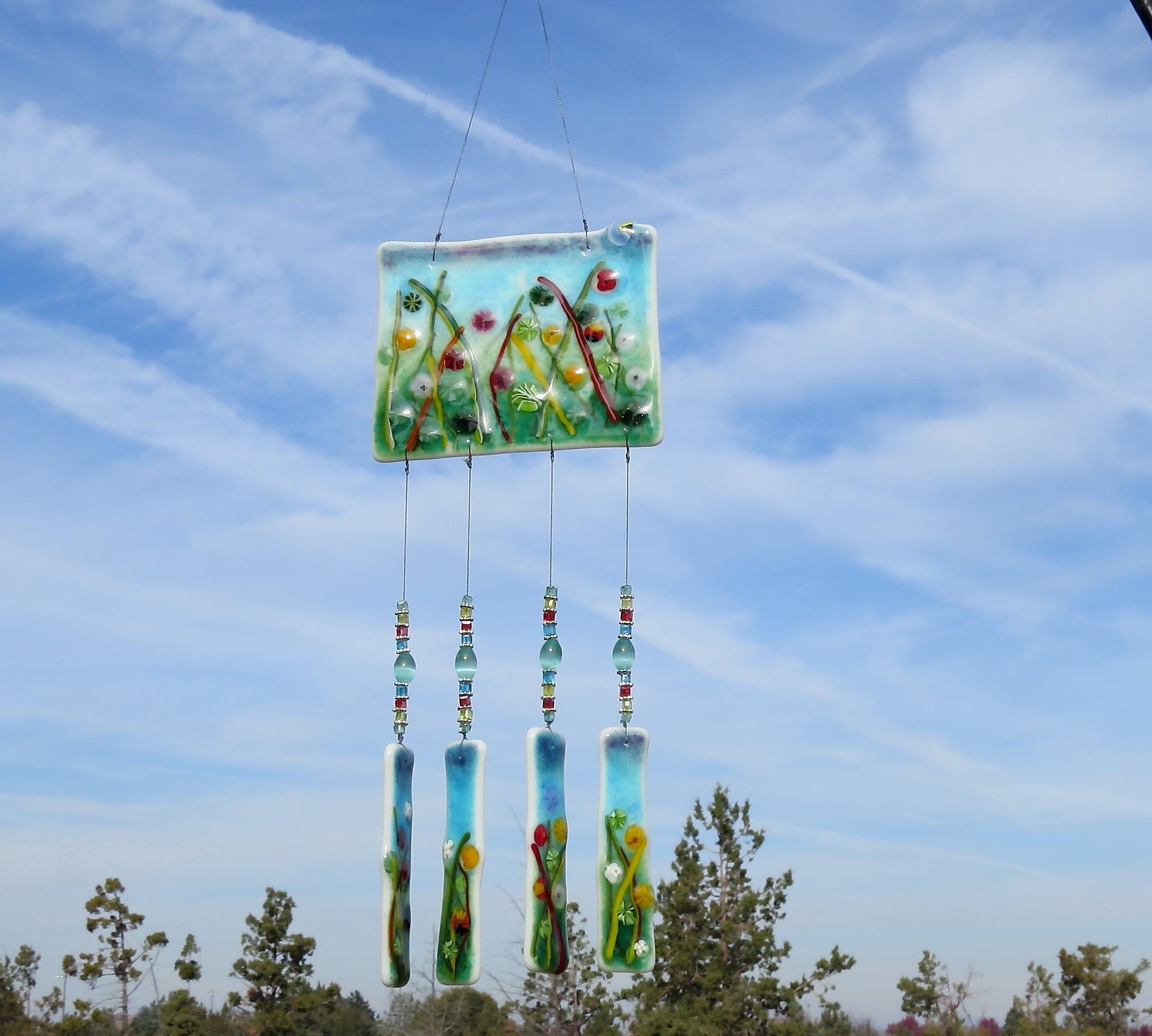 This Beautiful Wind Chime Will Add Color To Any Area Of Your Yard Or Patio It Will Make The Sweetest Sound Wit With Images Wind Chimes Wine Bottle Wind Chimes Garden