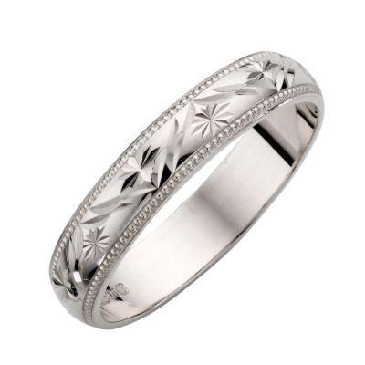 9ct White Gold Las Patterned Wedding Ring H Samuel