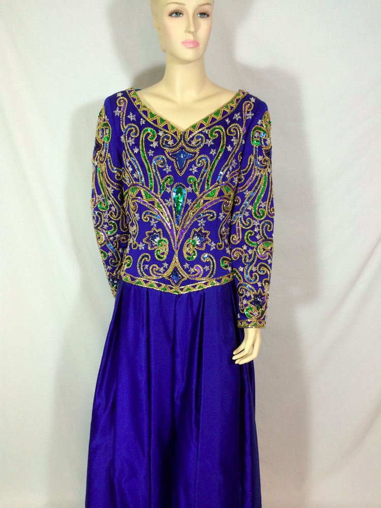 Victoria Royal Beaded Gown Evening Dress Blue Saks 5th Avenue 16 XL ...