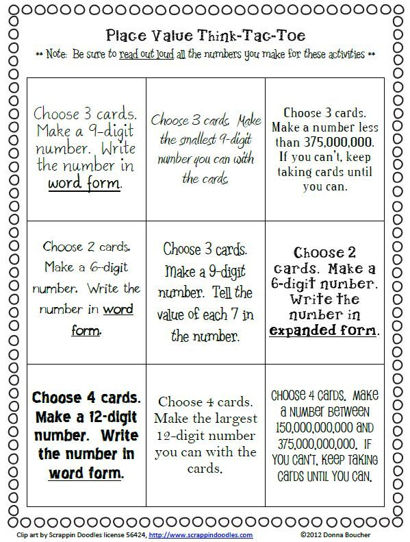 Place Value I Can Cards And Choice Board Bulletin Board Math