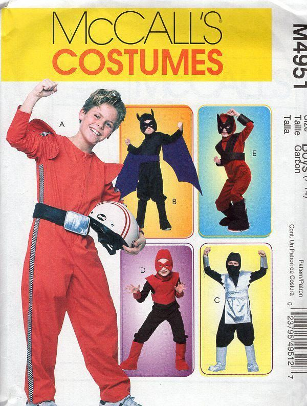 Free Us Ship Sewing Pattern McCall\'s 4951 Costume Boys Spaceman ...