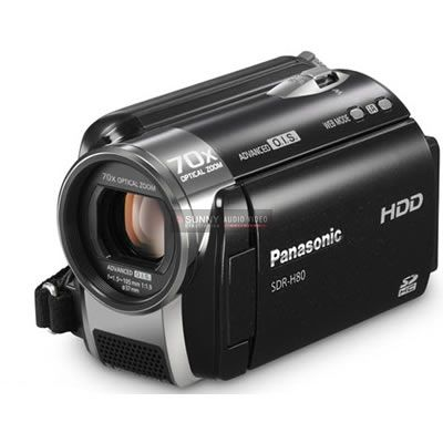 Panasonic Camcorders Standard Definition SDR-H80K Black This 70x zoom lens has the power you need to take dramatic close-ups or get remarkable shots of even distant subjects. But with long-distance zoom shots, even a tiny bit of hand shake has a huge effect on picture quality. That's where image stabilization comes in. Panasonic's Advanced O.I.S. (Optical Image Stabilization) shifts a corrective lens as you shoot to eliminate the effects of hand shake,