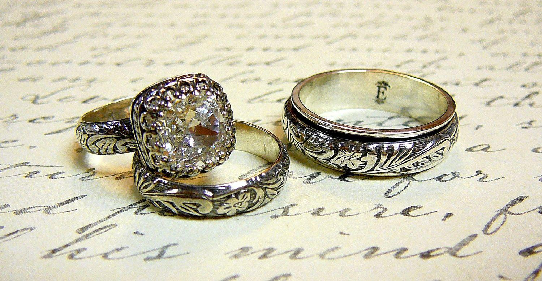 2877dc489 Vintage Sterling Silver Swarovski Crystal Husband & Wife Wedding Set
