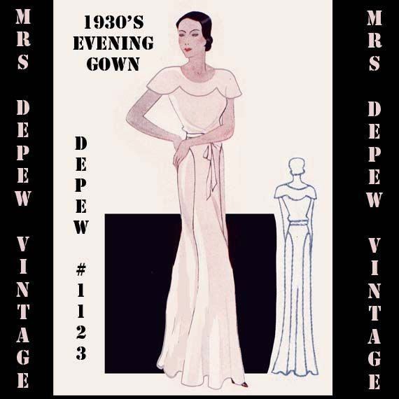 Plus Size Wedding Gown Patterns: Vintage Sewing Pattern 1930's Evening Or Wedding Gown In