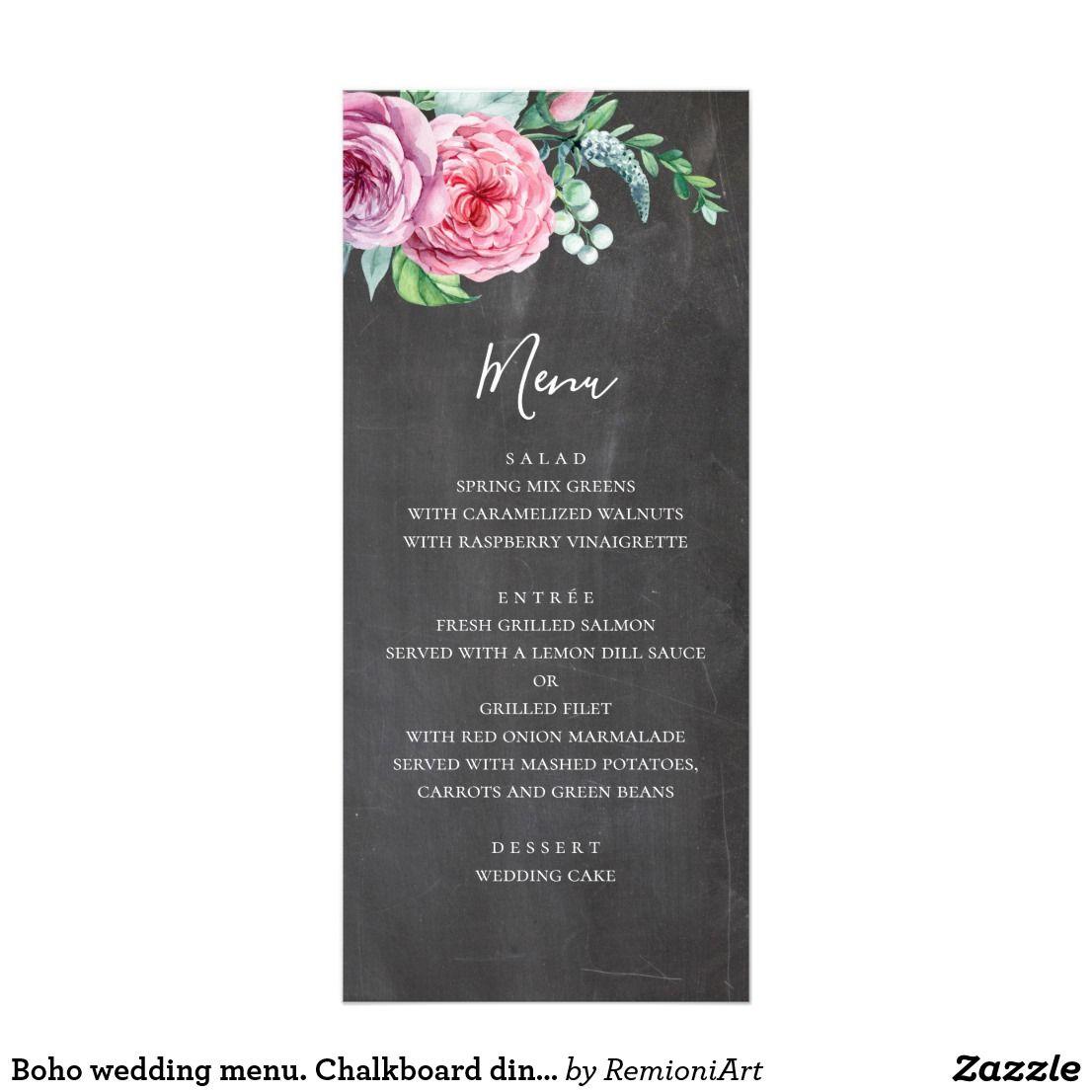 Boho Wedding Menu Chalkboard Dinner Menu Flowers Rack Card My