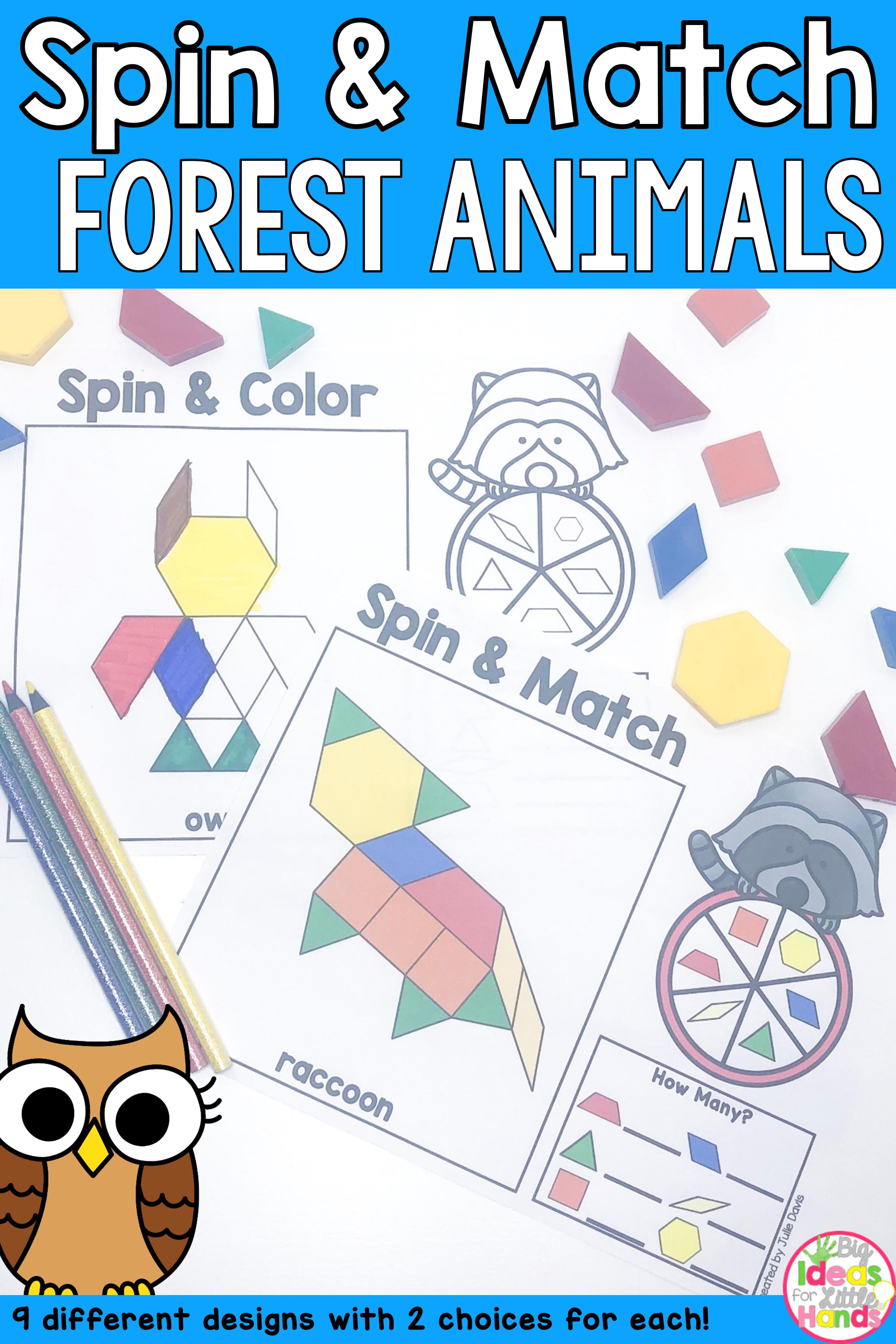 Pattern Blocks Mat Forest Animals Math Center