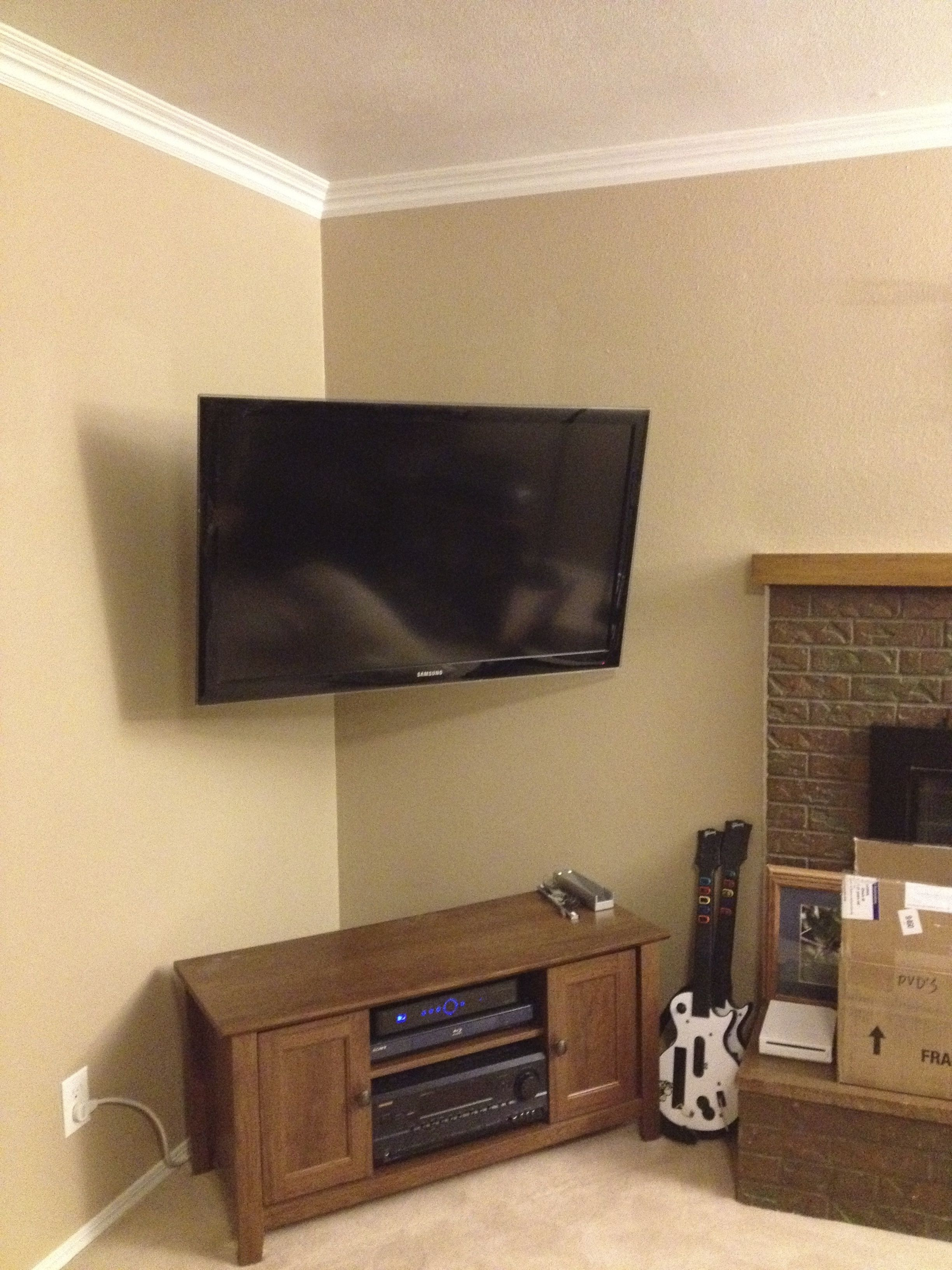 Corner Mounted Tv With The Wires Hidden Adds So Much Space In Your