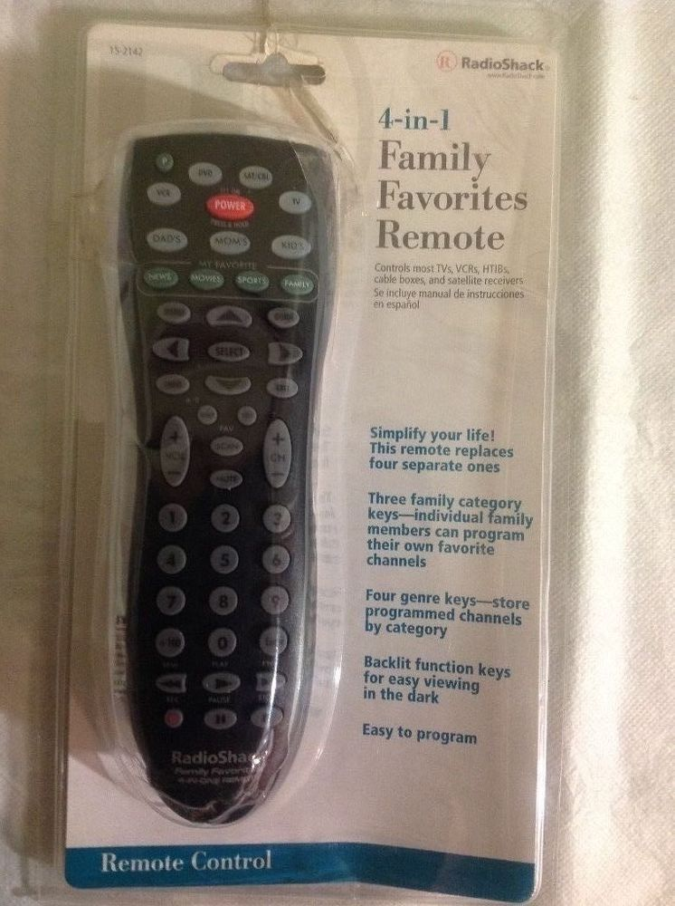 radio shack 4 in 1 family favorites remote control 15 2142 with user rh pinterest com Cox Cable Remote Manual Radio Shack Computer
