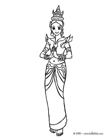 Thai princess coloring page | Thailand Trek VBS 2015 | Pinterest
