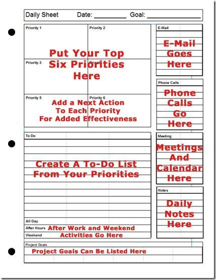 Printable Daily Planner  The TopSix Strategy For Success Oooooh