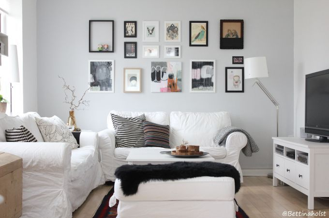 Art wall in a livingroom of ektorp and hemnes from - Inspiration salon ikea ...