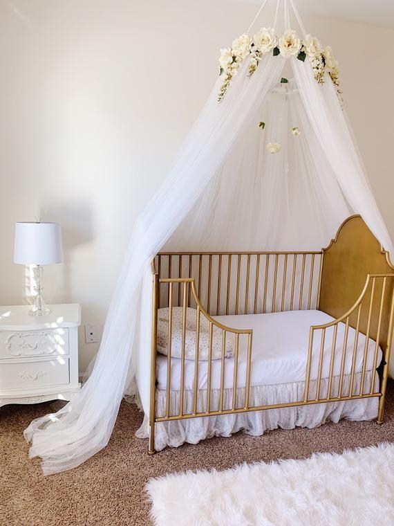 Crib Canopy, Girl Nursery Room, Baby Girl