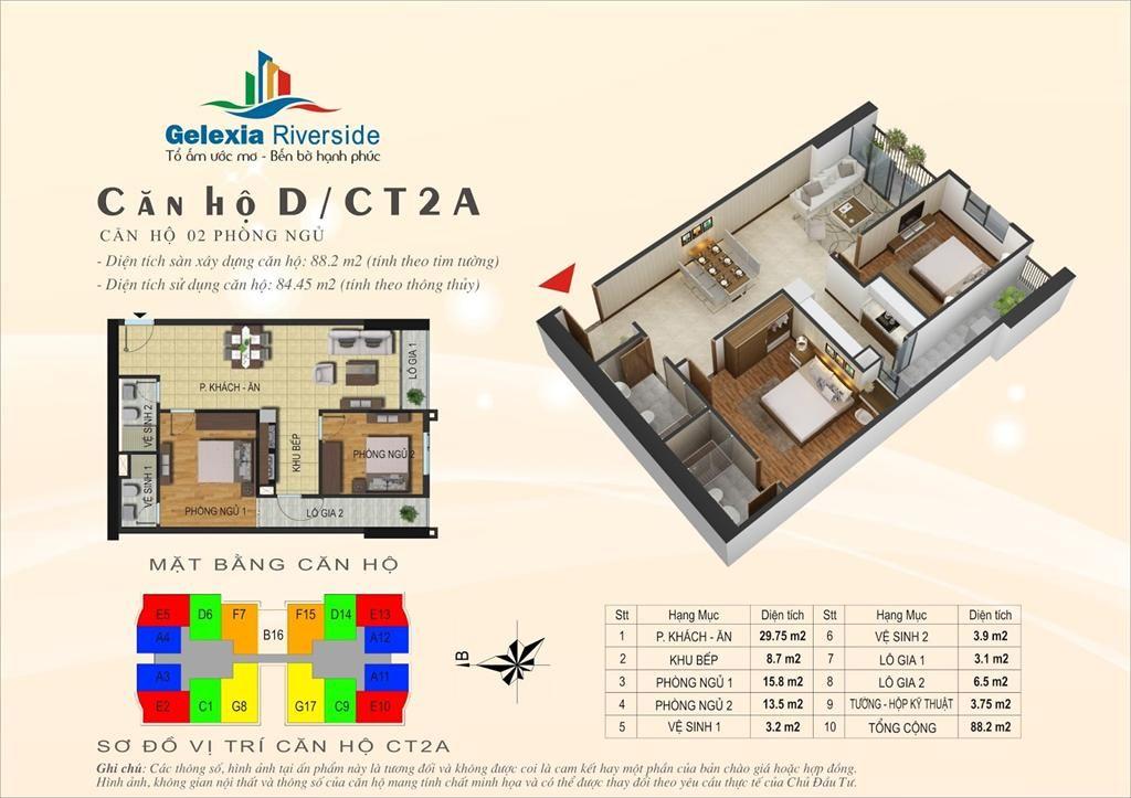 Căn hộ D, 2 phòng ngủ. Tòa căn hộ CT2A - Chung cư Gelexia Riverside - 885 Tam Trinh