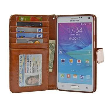Buy Navor Samsung Galaxy Note 4 Folio Wallet Case (Brown) N4O by Home Living Dream on 55mulberry