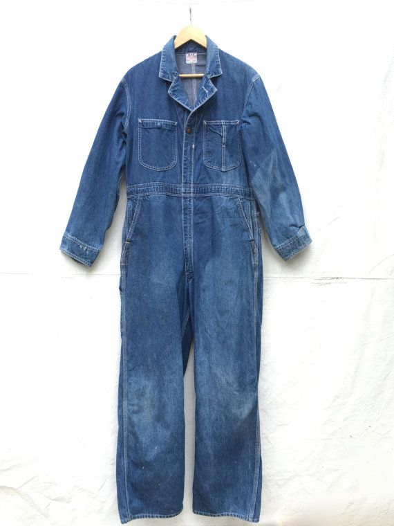 ab59228bf2 Lee Union-Alls 40 s Coveralls Jumpsuit Mechanics Denim Jumpsuit Coverall