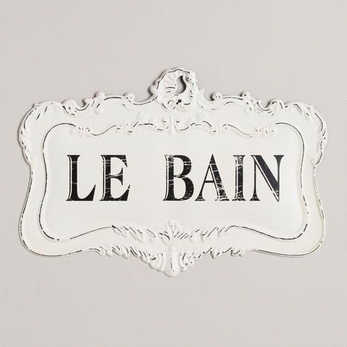 Bathroom Sign Art le bain sign | french bathroom, bath and powder room