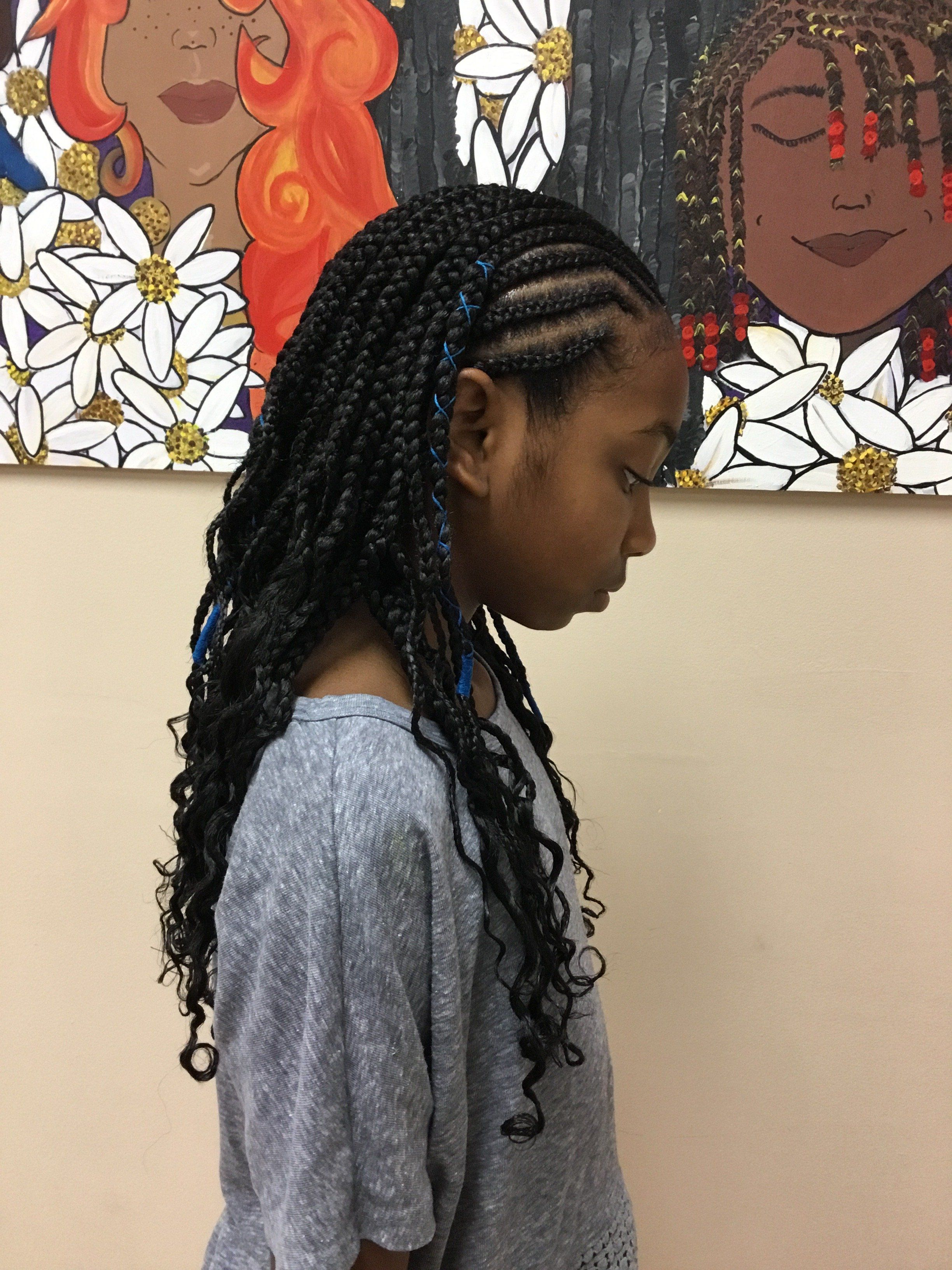 Kids Cornrows With Box Braids And Cornrows With Box Braids Box Braids Styling Kids Box Braids