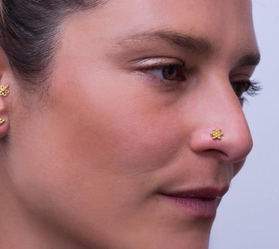 Black Onyx Nose Stud Diamond Nose Ring Indian Nose Stud 22K Gold Nose Piercing