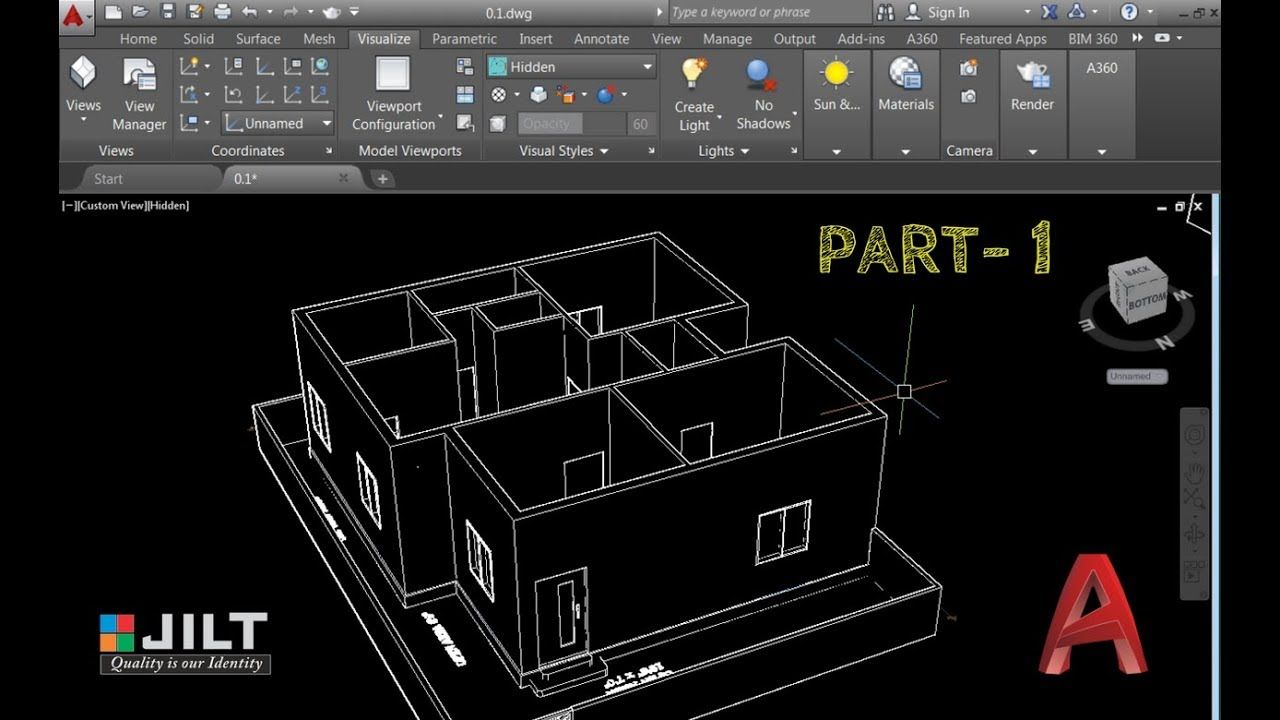 2??cad??? Create 3d House Using Autocad In Easy Steps Ex 2 Part 1