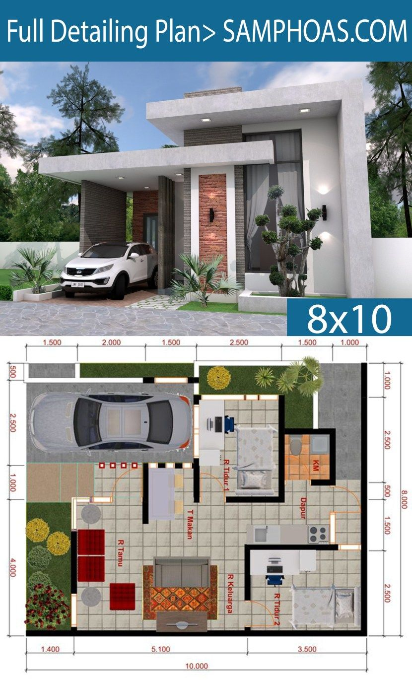Sketchup House Modeling Idea From Photo 8x10m Samphoas Plan House Plans Mansion Small House Design Plans Simple House Design