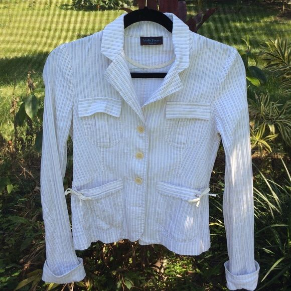 Stella forest jacket Linen/cotton white jacket. Size euro 40 fits like a 4/6. Fitted and hits at hip. Super cute white w/ cream and brown stripe. Front pockets with a cute bow and back has a nice very slight flair at the bottom.sleeves are long but can be folded up. Jackets & Coats Blazers