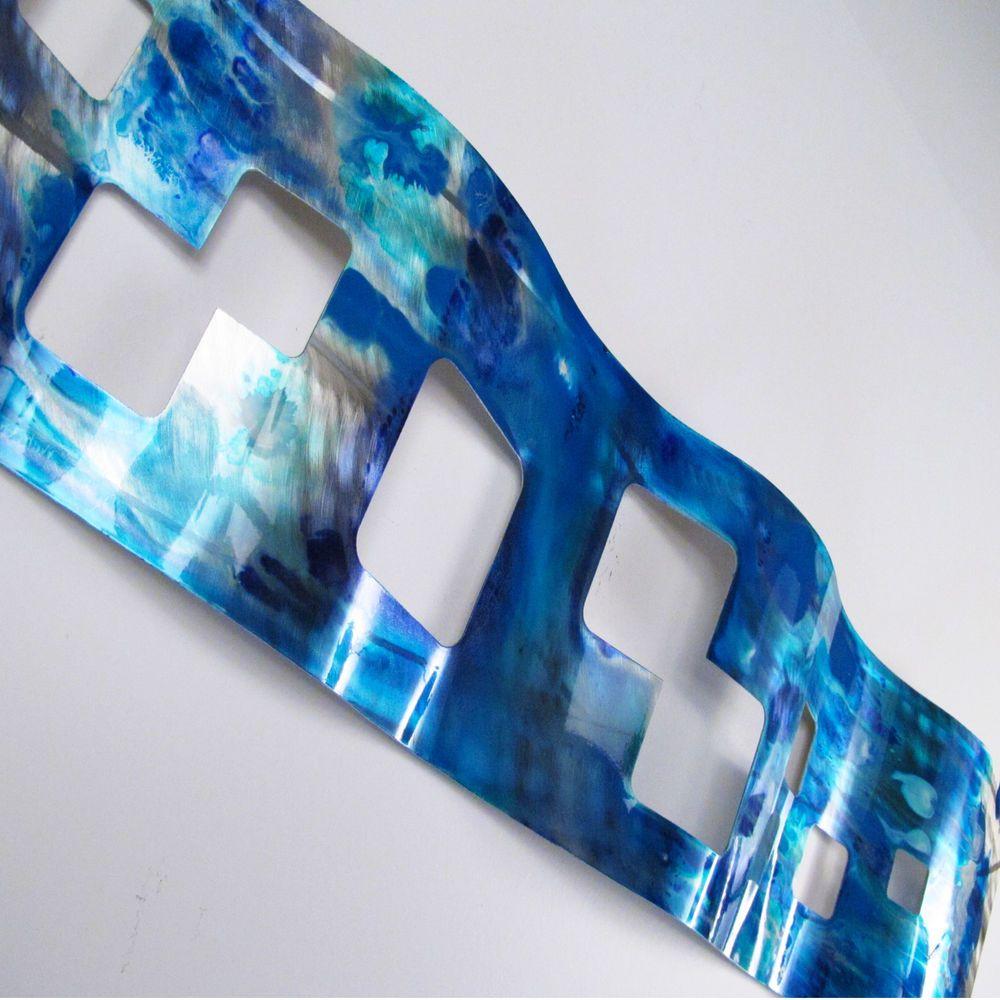 Metal wall art sculpture blue tropical modern abstract painting home