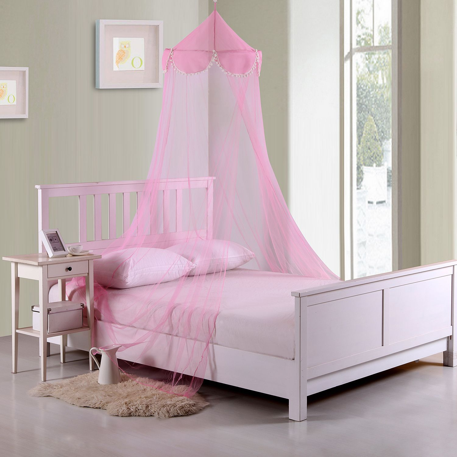 Sheer Pom Pom Collapsible Hoop Kids Bed Canopy Pink