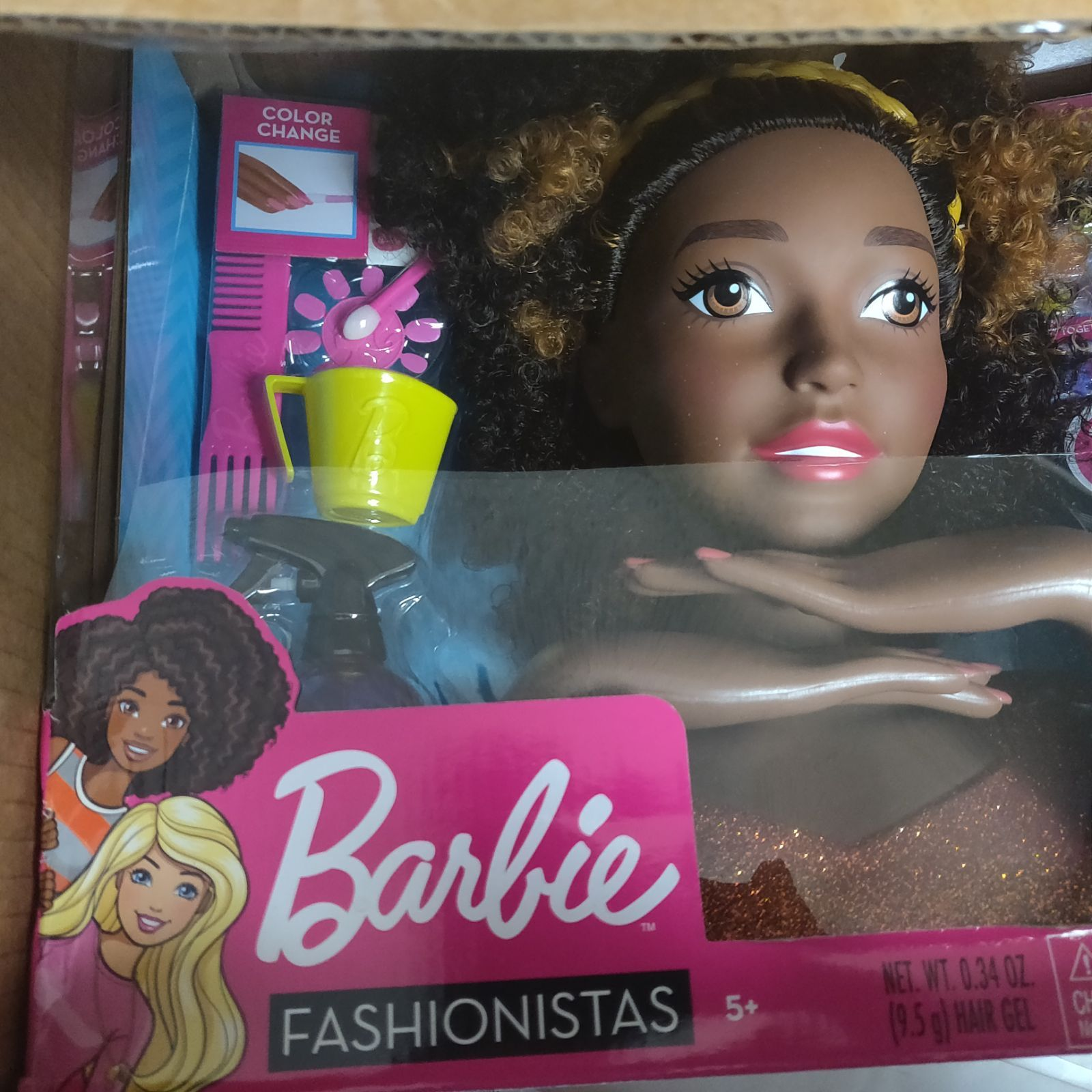 Now Young Stylists Can Really Color Barbie S Hair With The Colored Gel And Applicator Just Dip The Applicator Barbie Hair Barbie Styling Head Black Curly Hair