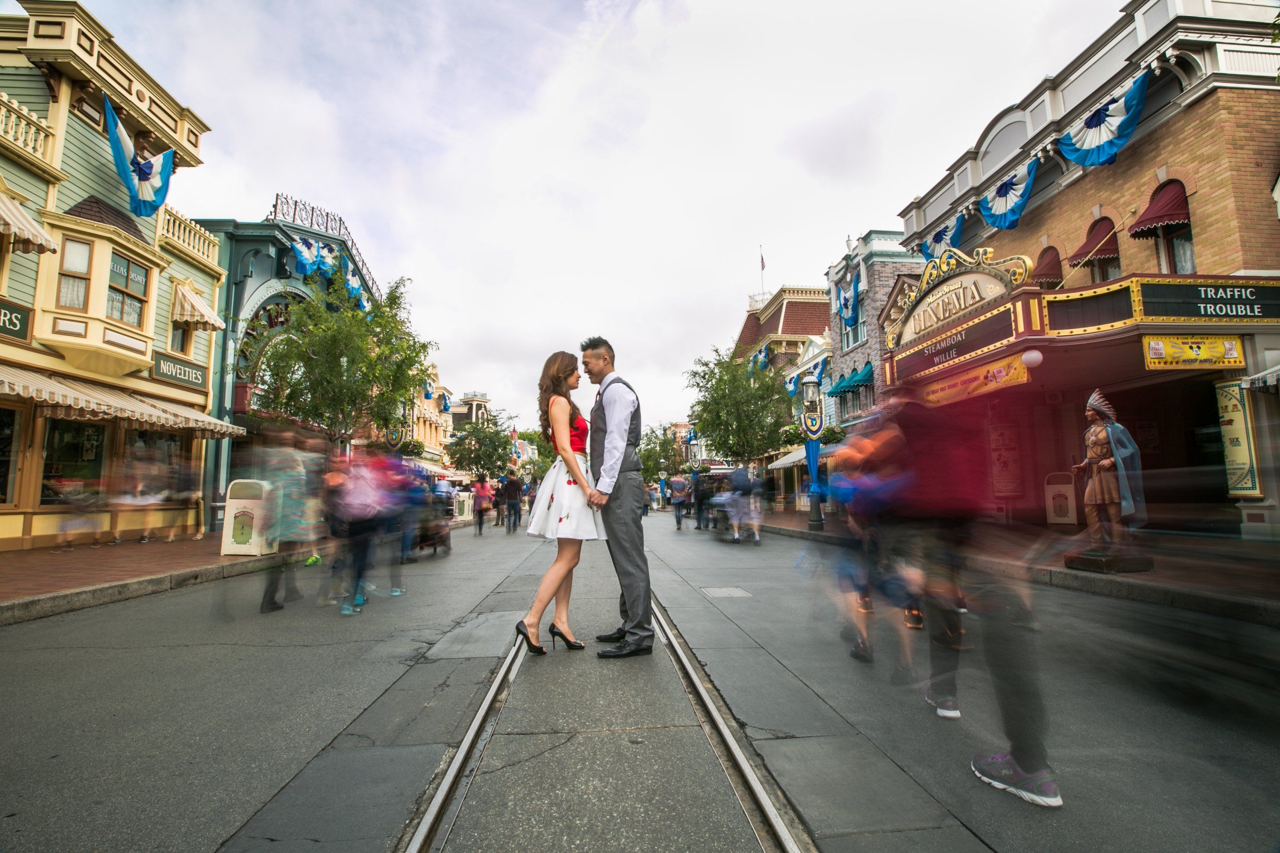 Lost In Each Other S Eyes On Main Street Usa In Disneyland With Images Disneyland Engagement Disney Engagement Pictures Disney Engagement