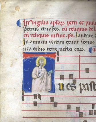 """Tempera and goldleaf on vellum. St Peter. Bologna, early 14th century. The initial 85x65mm, showing the haloed St Peter with book and keys wearing a long mauve garment, which, like the face and beard, is delicately shaded, against a ground of deep azurite with white highlights, the bar of the """"T"""" formed by an orange band across his head. Text is from the Vespers Antiphon celebrating the office.  #livre"""