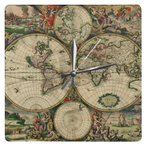 Square wall clock decor with the antique Old World Map. #vintage #travel