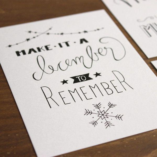 4er postkarten set weihnachten handlettering for Postkarten selber basteln