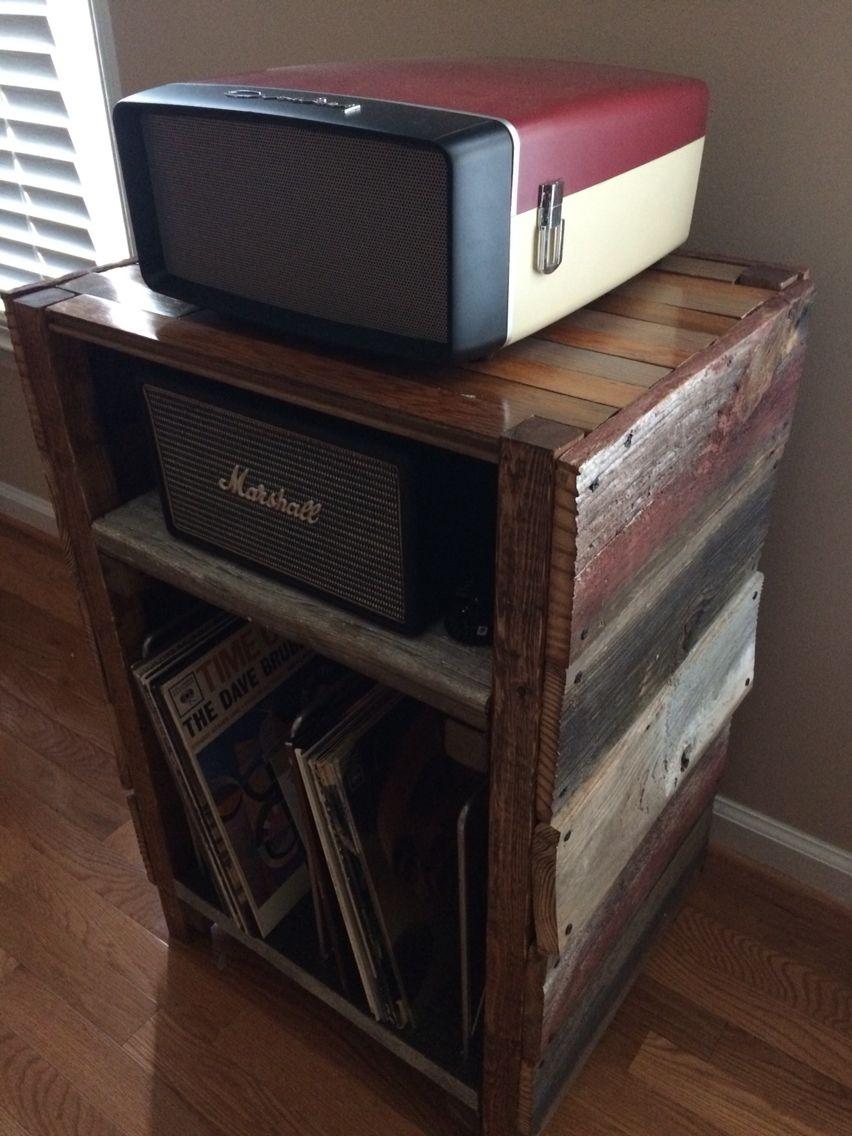 Barnwood Record Player Stand And Vinyl Storage Pikap