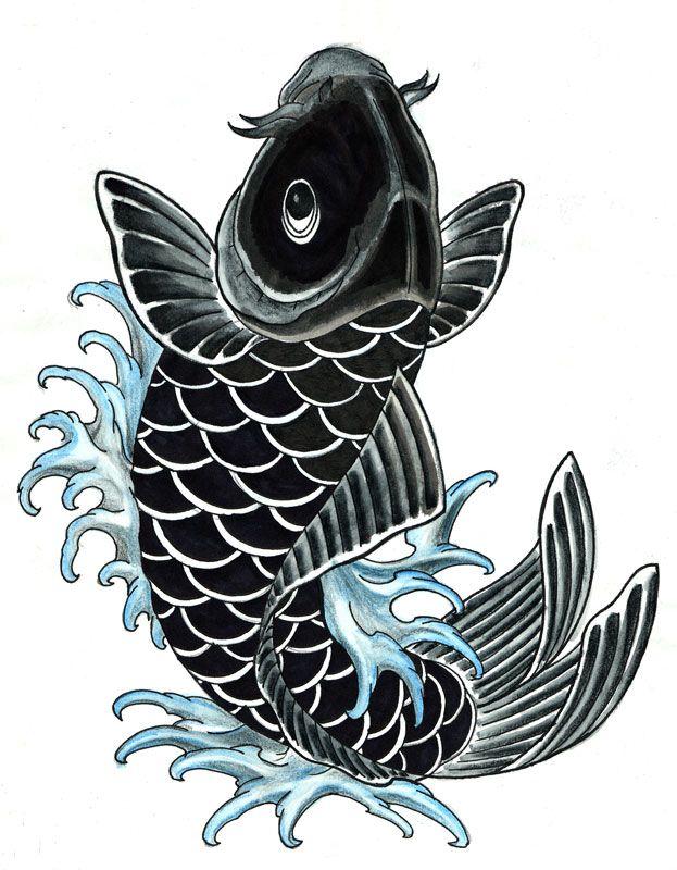Black Koi Fish Tattoo Simple