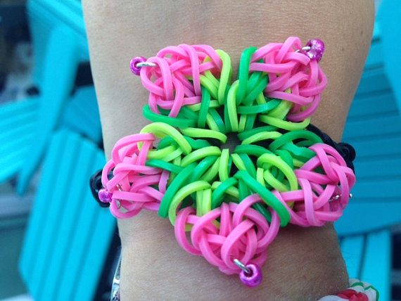 Hibiscus Flower Rainbow Loom Teardrop By Craftsfordiabetes On Etsy Rainbow Loom Loom Bands Designs Rainbow Loom Bracelets