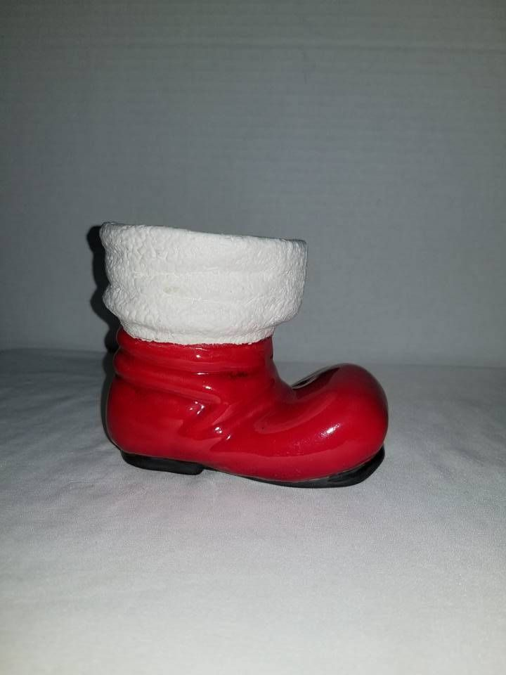 Vintage Santa Boot Planter Red Christmas Boot Vasechristmas Vintage Santas Christmas Boots Red Christmas