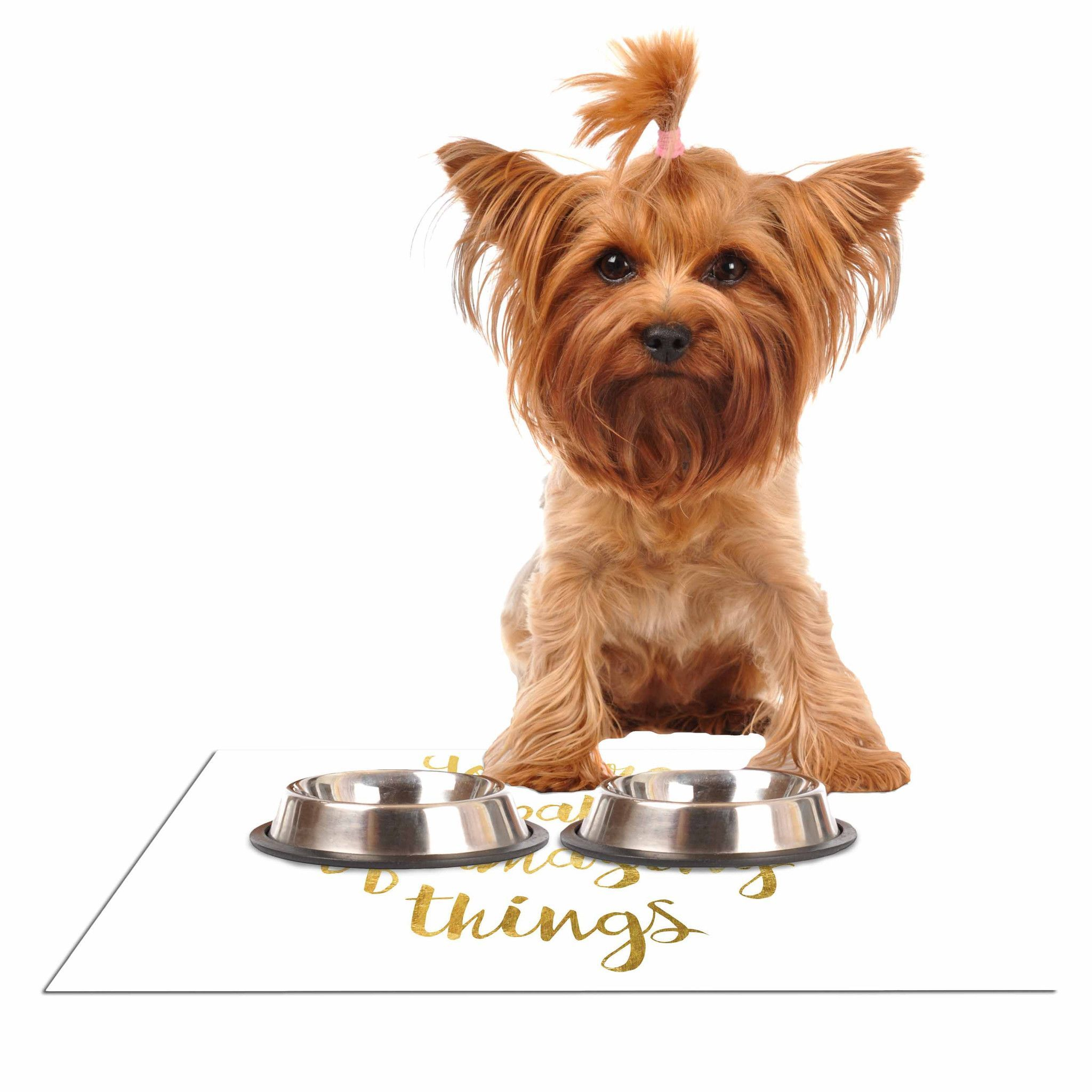 "NL Designs ""Amazing Things"" Gold White Dog Place Mat"