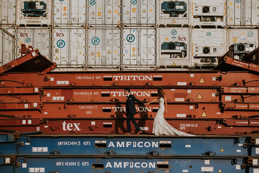 Gorgeously Gritty Day After Wedding Photo Shoot In A Shipping Container Yard Wedding Photoshoot Prewedding Photography Wedding Photos Poses