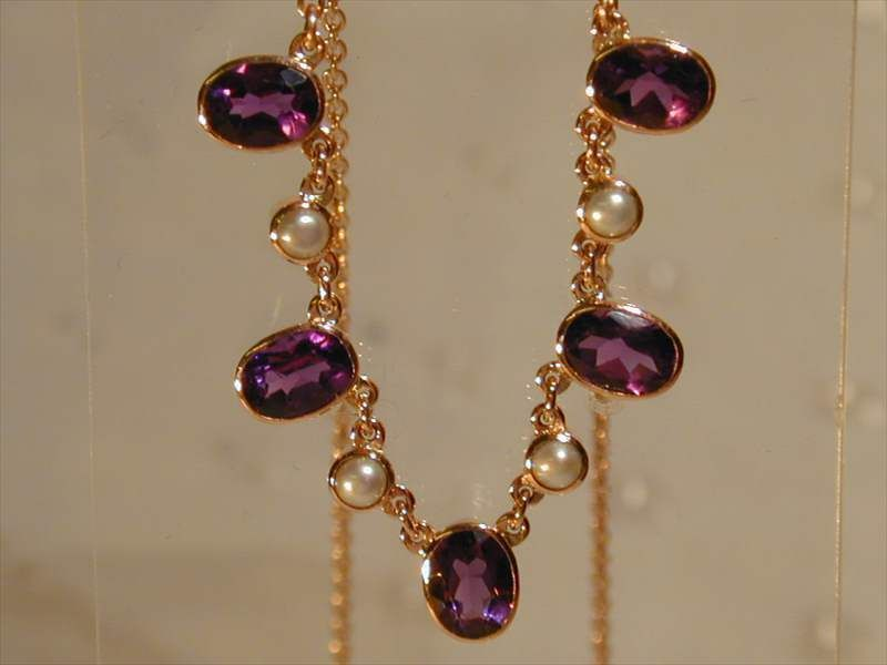 9CT ROSE GOLD NECKLACE AMETHYST & PEARL DESIGN 16  - 18  LONG BEAUTIFUL 3.25 CTS