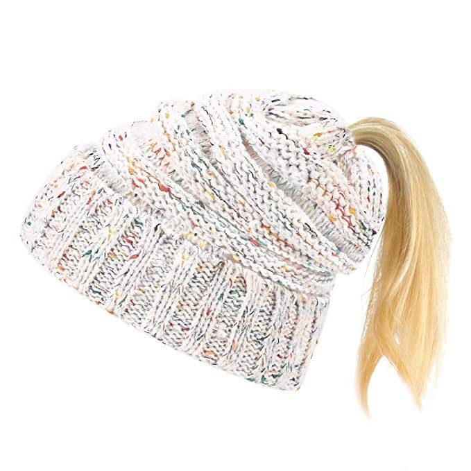 eb5415eb2db8e Laho Stretch Cable Knit Beanie Hat Winter Messy High Tail Ponytail Bun Hat  with Colored-Spots White
