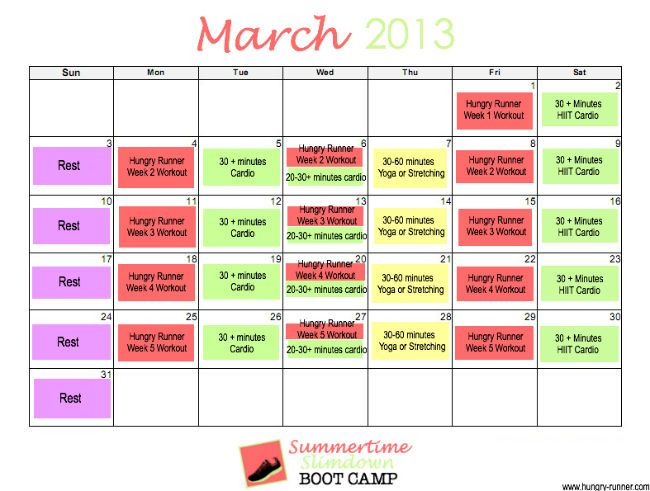 Week Summertime SlimDown Boot Camp  Workout Calendar Boot