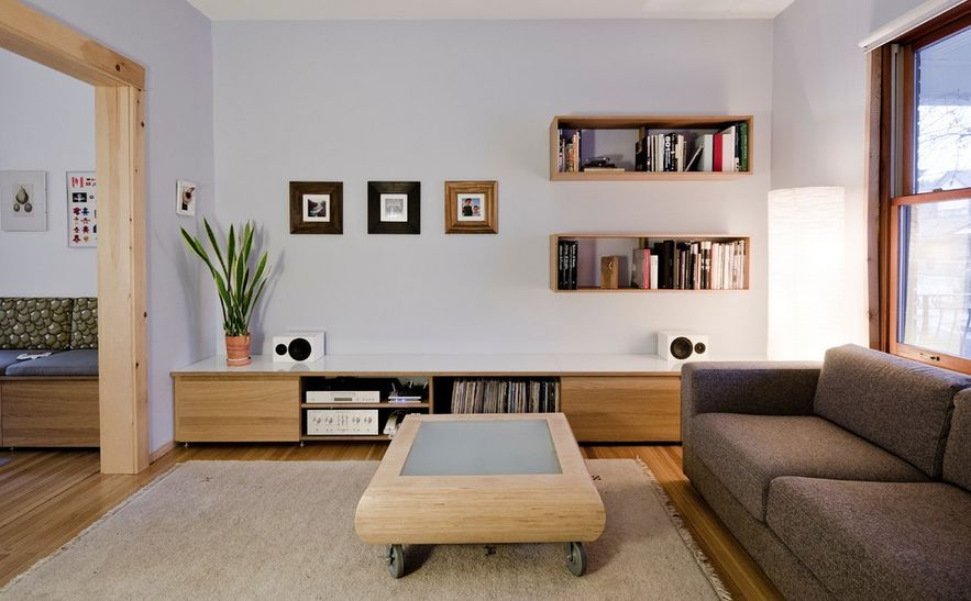 Wallmounted Box Shelves  A Trendy Variation On Open Shelves Classy Living Room Storage Cabinets Review