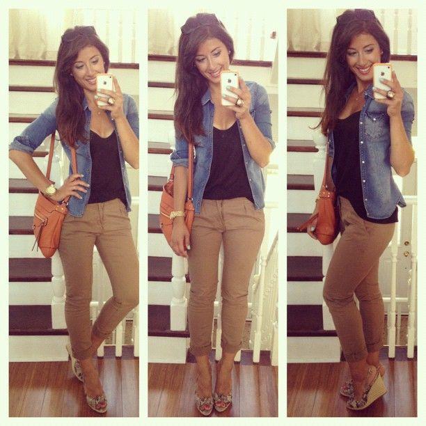 Rolled Skinny Dark Khakis Black Shirt Chambray Button Down Or Jean Jacket Heels Khaki Pants Women Fashion Pants Outfit Work