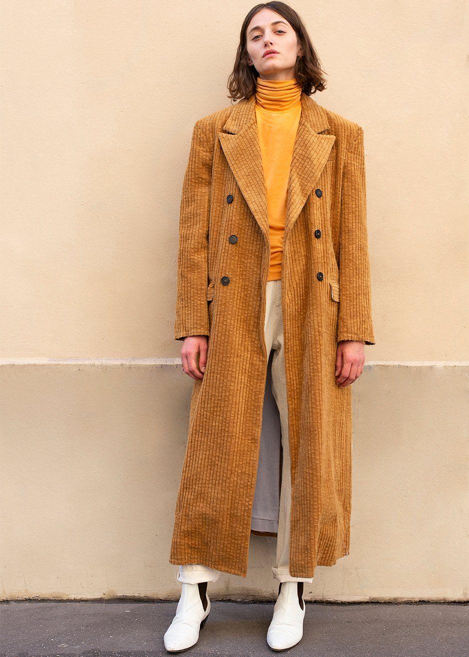 4ec35b78d5c443 Amber Wide Rib Corduroy Long Coat Top Coat, Corduroy, Coats For Women,  Double