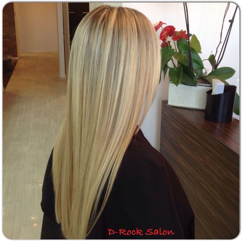 Long multi dimensional blond highlights ombré balayage soft