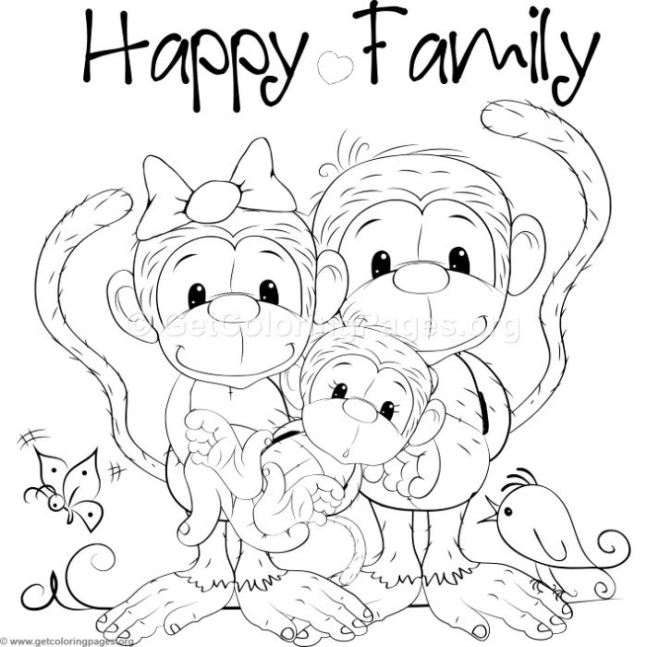 Cute Monkey 7 Coloring Pages With Images Monkey Coloring Pages