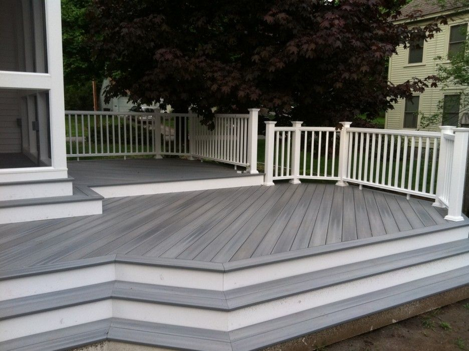 Gray Trex Decking With White Fascia On Stairs