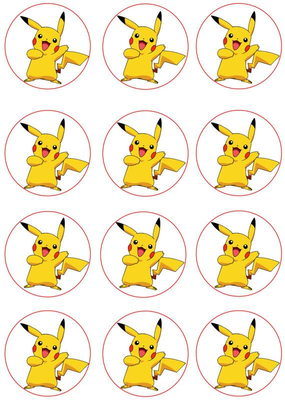 Pikachu Edible Image Cupcake Toppers By Shorecakesupply On Etsy